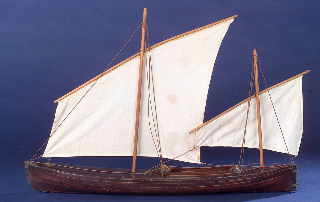 Detail of Full hull model, two masted open boat, port broadside by unknown