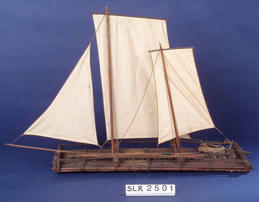 Detail of Full hull model, sailing liferaft, port broadside by unknown