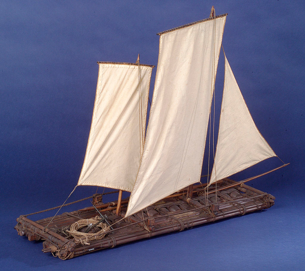 Detail of Full hull model, sailing liferaft, starboard stern quarter by unknown