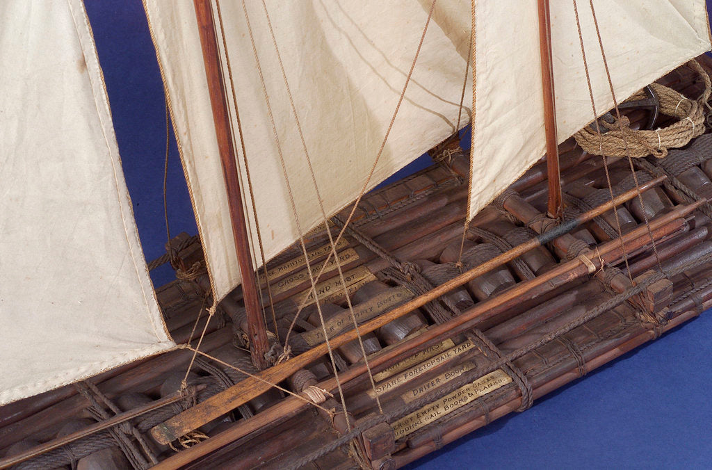 Detail of Full hull model, sailing liferaft, port by unknown