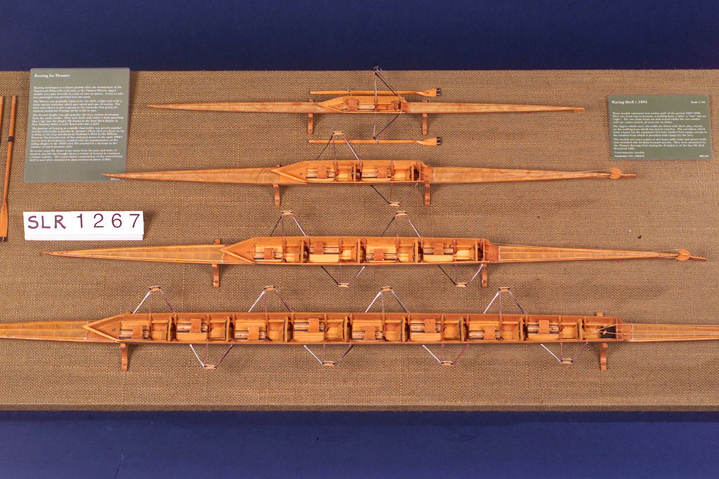 Detail of Full hull model, racing four shell, port broadside by unknown