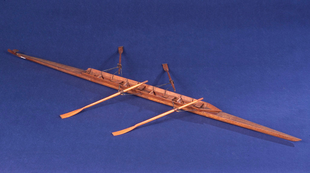 Detail of Full hull model, racing skiff, starboard by unknown