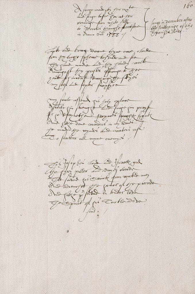 Detail of Song composed by Elizabeth I to celebrate the defeat  of the Spanish Armada, 1588 by Elizabeth I