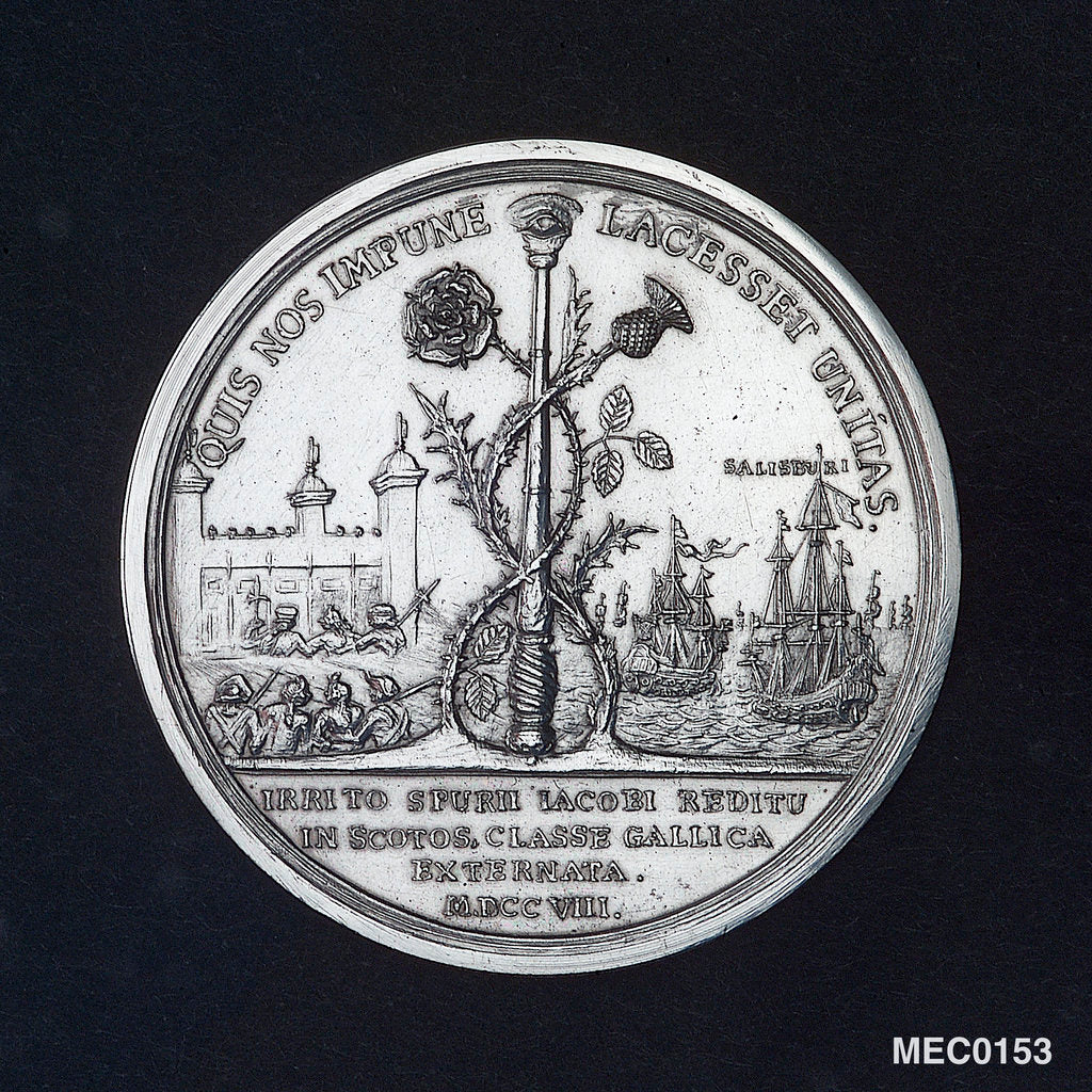 Detail of Medal commemorating the attempted invasion of Scotland, 1708 by M. Smeltzing