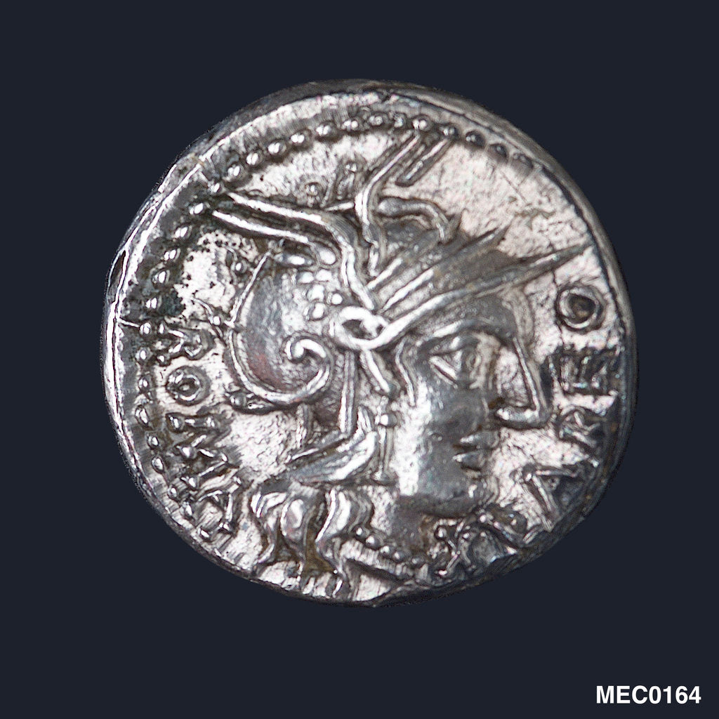 Detail of Denarius depicting head of Roma by unknown