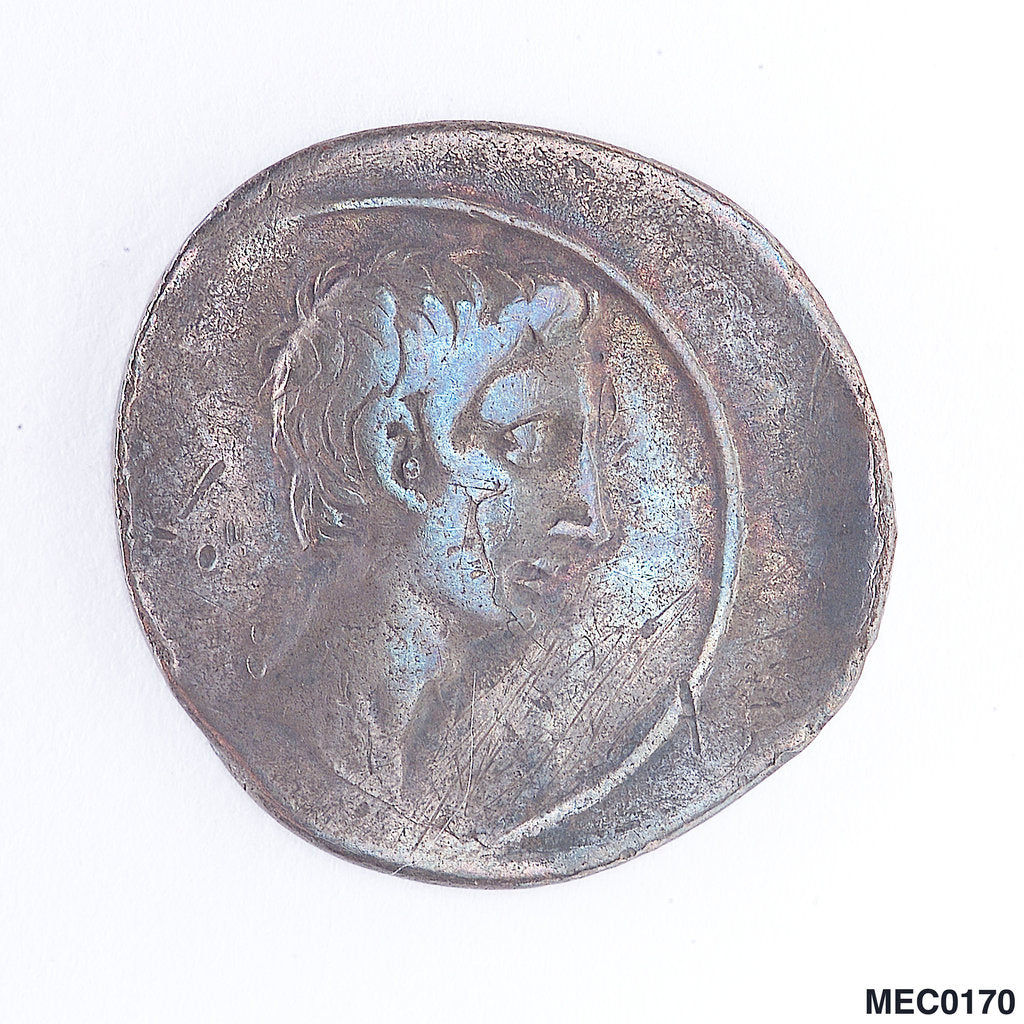 Detail of Denarius depicting Emperor Augustus by unknown
