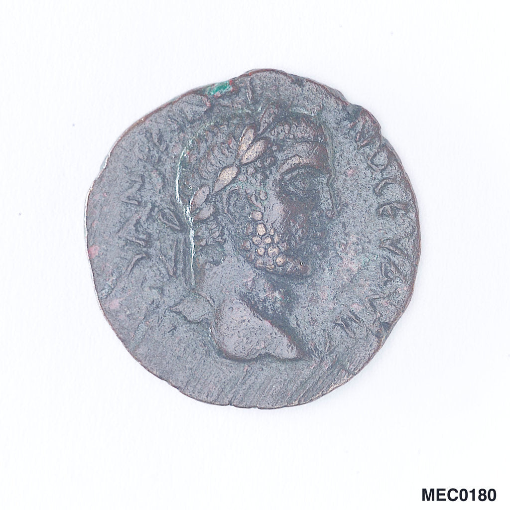 Detail of Classical coin depicting Emperor Caracalla and a galley by unknown