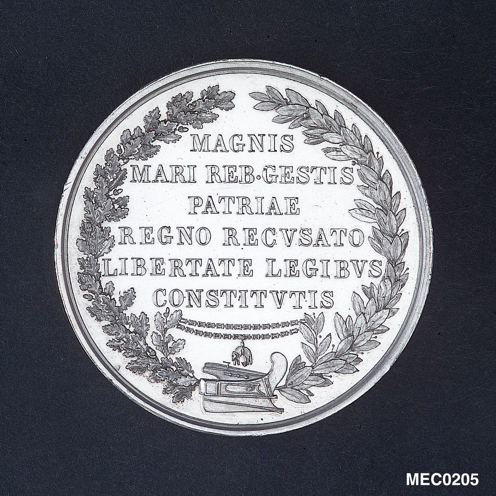 Detail of Medal commemorating Admiral Andrea Doria tercentenary, 1829 by N. Cerbara