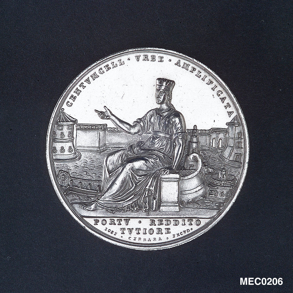 Detail of Medal commemorating Civitavecchia enlarged and its harbour improved, 1836 by J. Cerbara