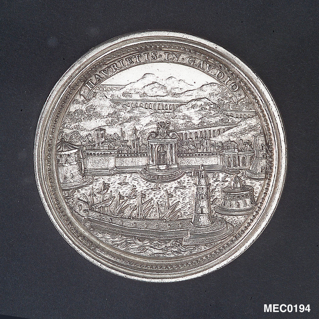 Detail of Medal commemorating the Aqueduct of Civitavecchia, 1703 by G. Hamerani
