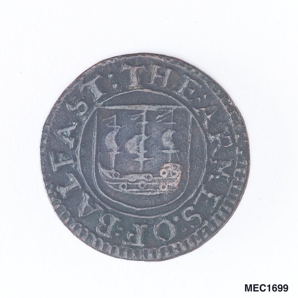 Detail of Belfast penny token by unknown