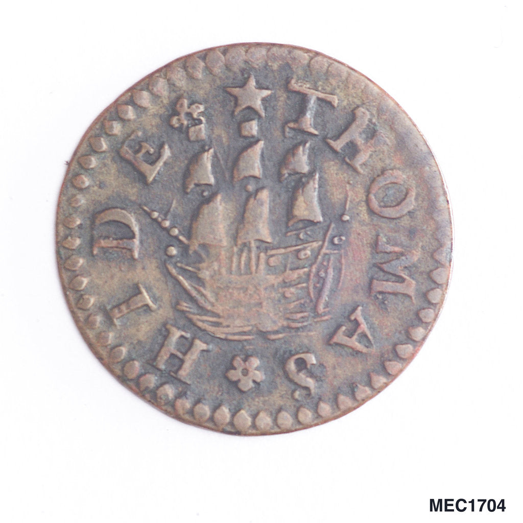 Detail of Token depicting a sailing ship by unknown