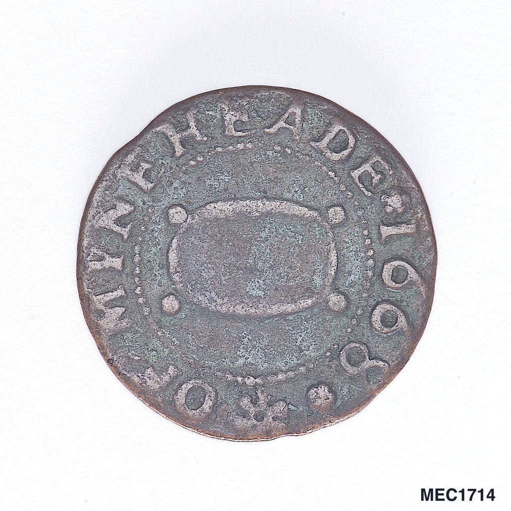 Detail of Minehead farthing token by unknown