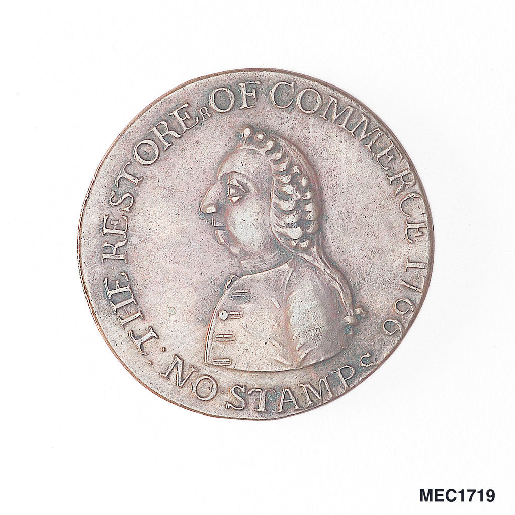 Detail of Halfpenny token commemorating the repeal of the Stamp Act, 1766 by unknown