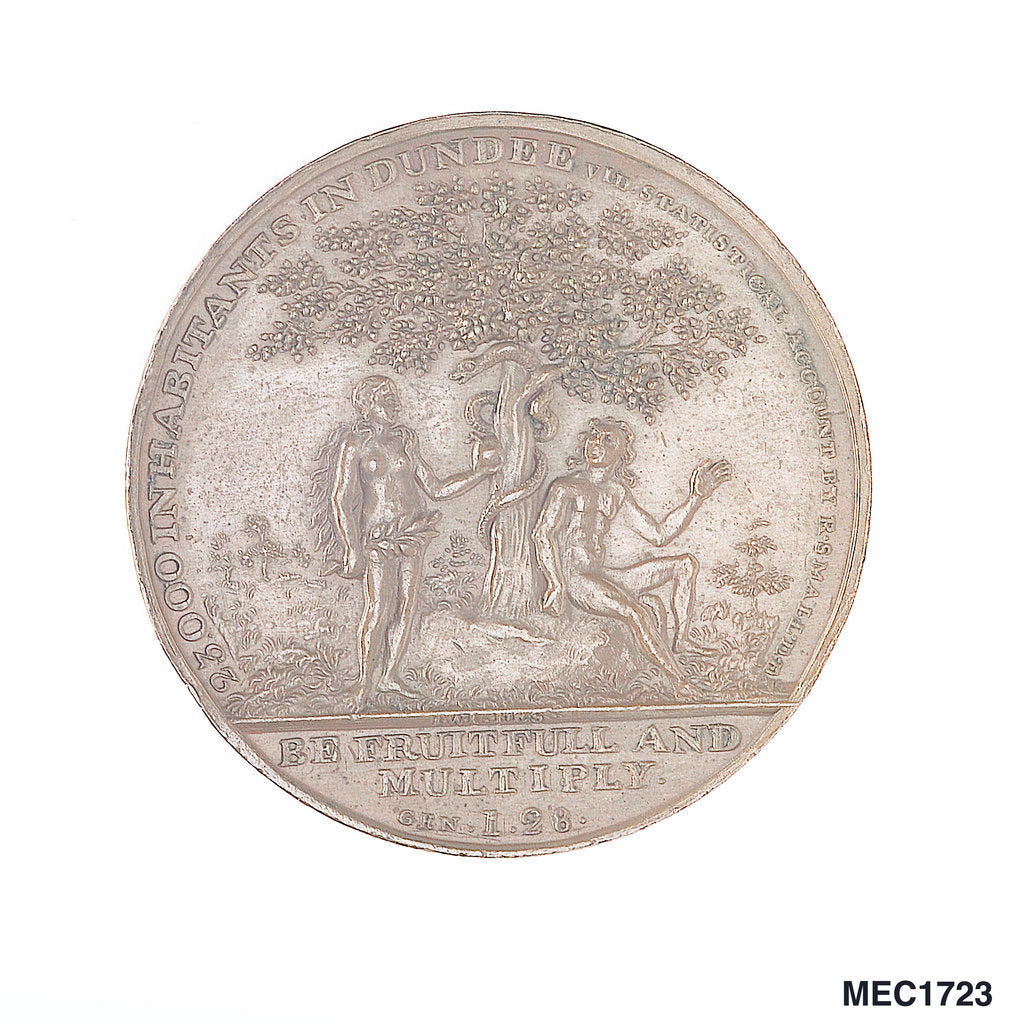 Detail of Dundee penny token commemorating  Admiral of the Fleet Adam Duncan (1731-1804)  and the battle of Camperdown, 1797 by T. Wyon