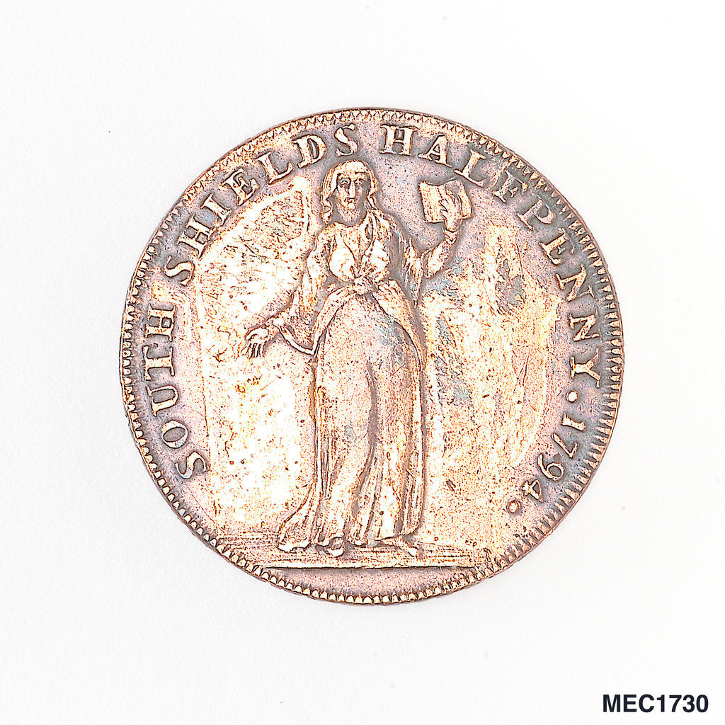 Detail of South Shields halfpenny token by T. Wyon