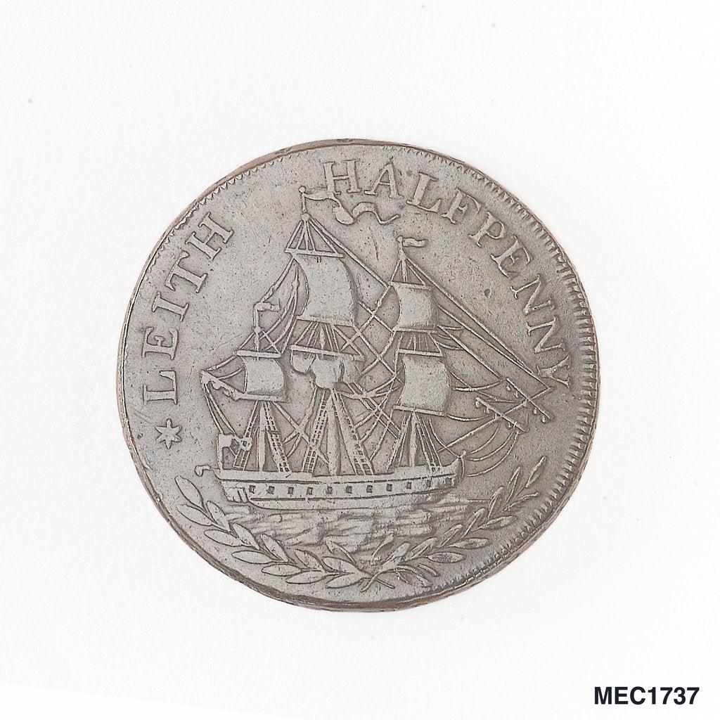 Detail of Leith halfpenny token by unknown