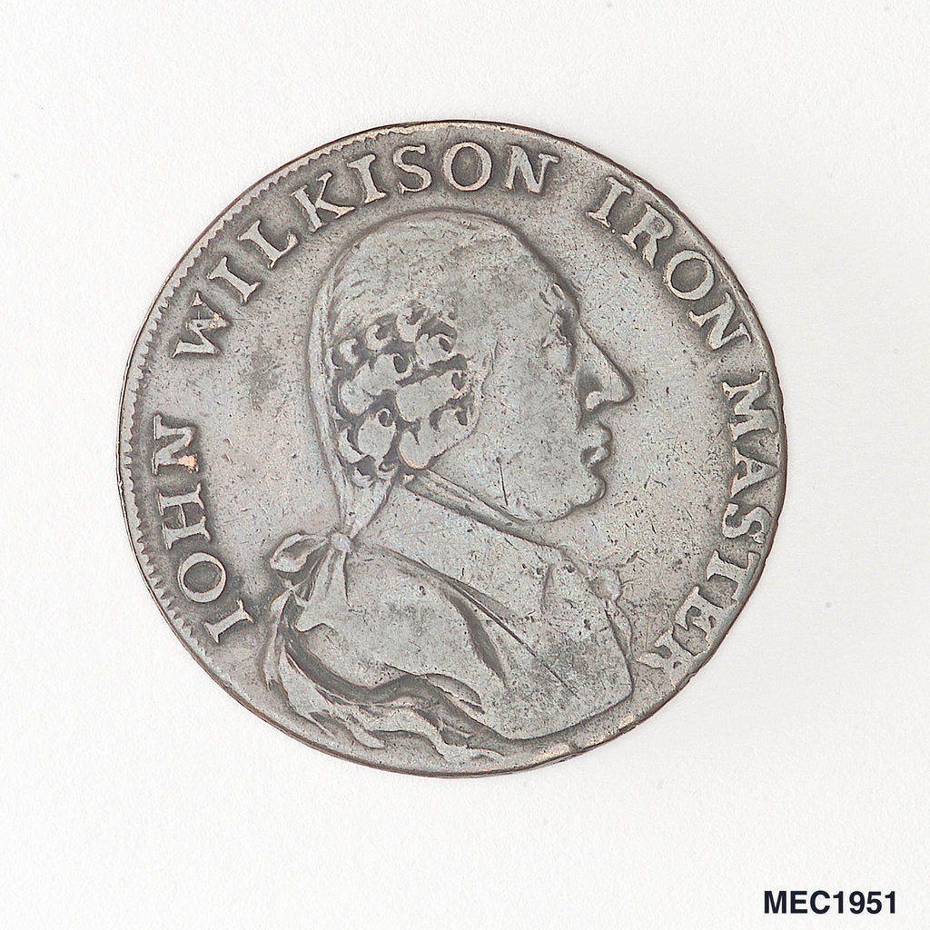 Detail of Halfpenny token commemorating John Wilkinson, ironmaster by unknown
