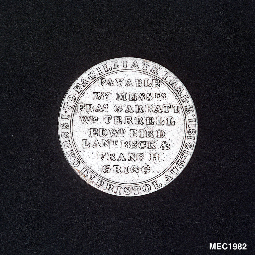 Detail of Bristol silver shilling token by unknown