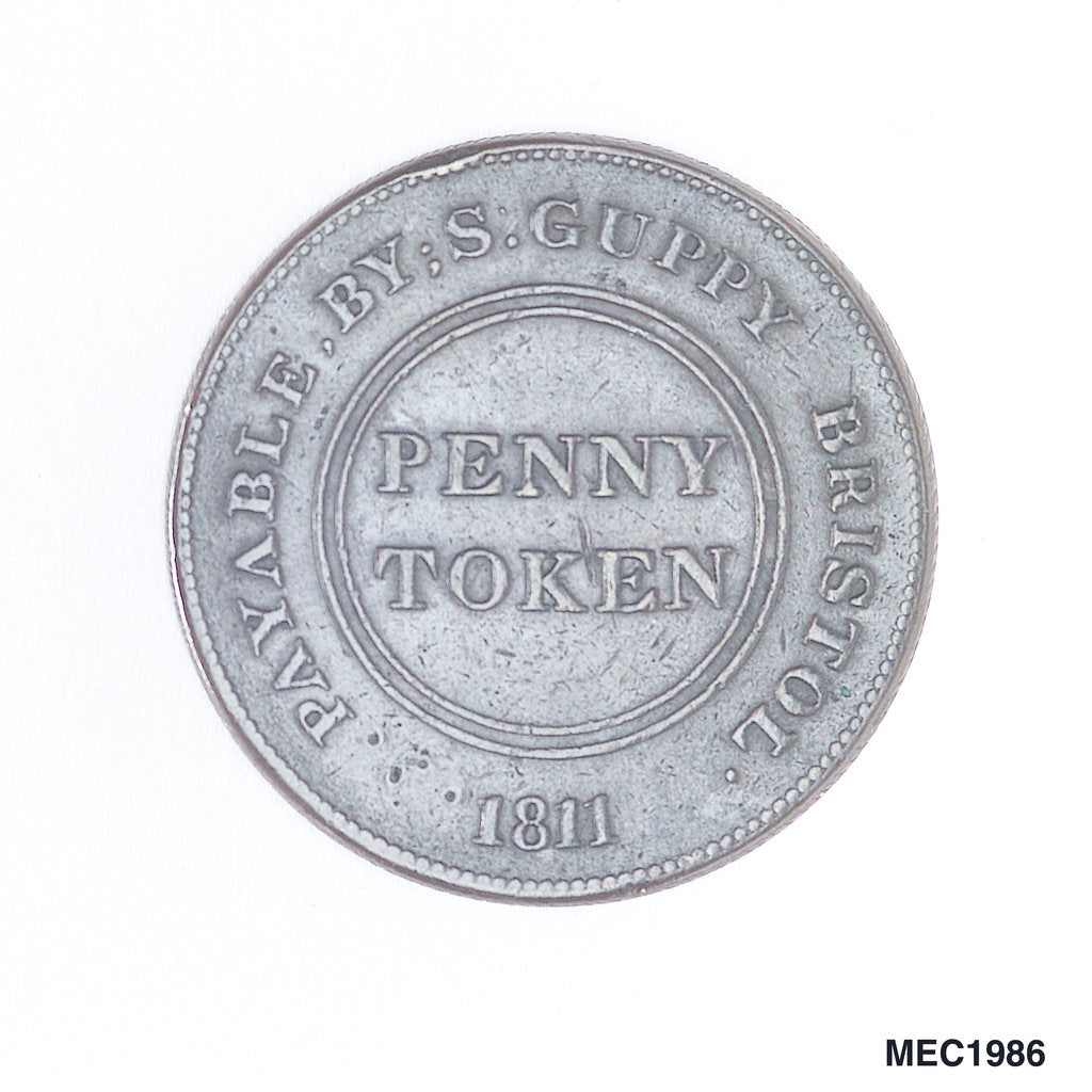 Detail of Bristol penny token by T. Halliday