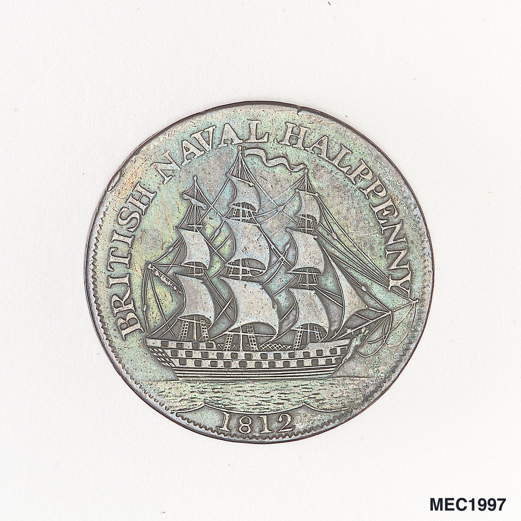 Detail of British naval halfpenny token by unknown