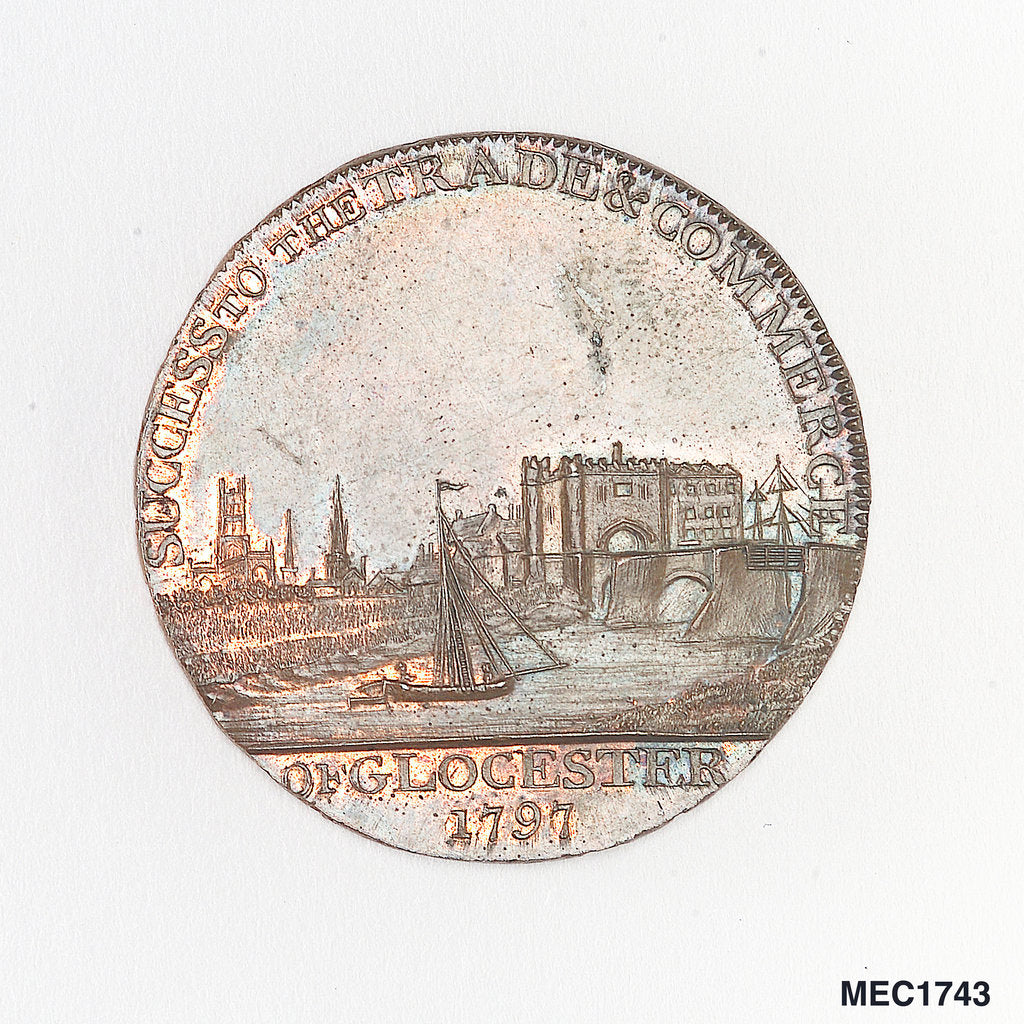 Detail of Token commemorating the Gloucester and Berkeley Canal by T. Wyon