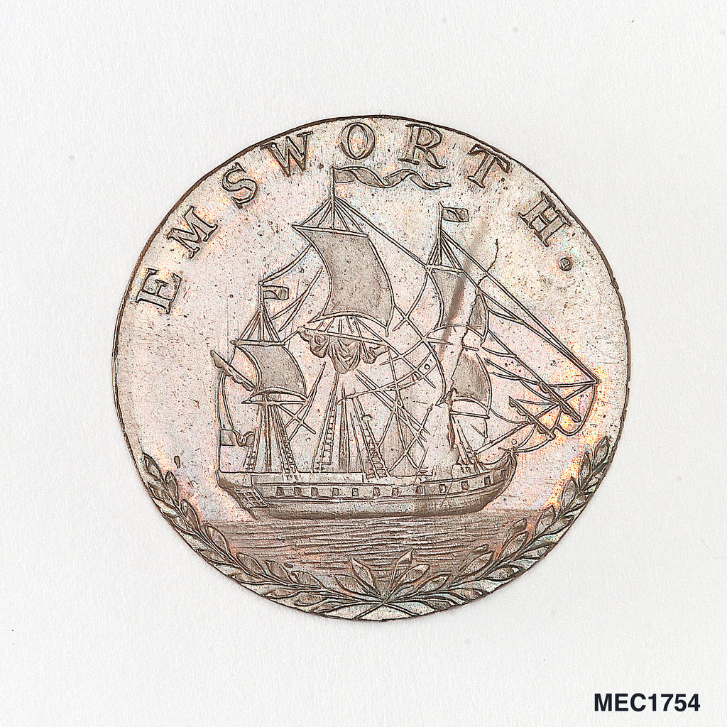 Detail of Emsworth halfpenny token commemorating the Battle of the Nile, 1798 by unknown