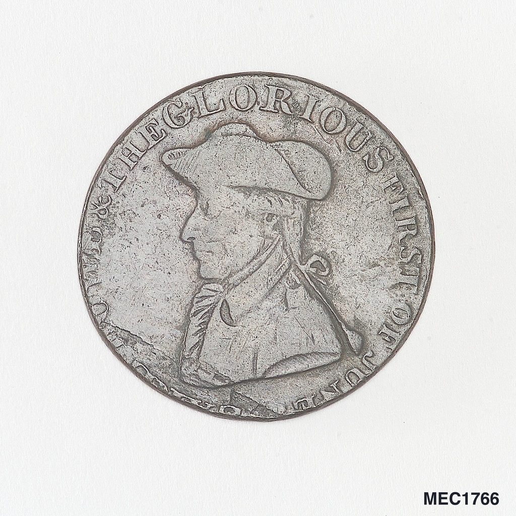 Detail of Token commemorating Admiral of the Fleet Richard Howe (1726-1799) and the Glorious First of June, 1794 by T. Wyon
