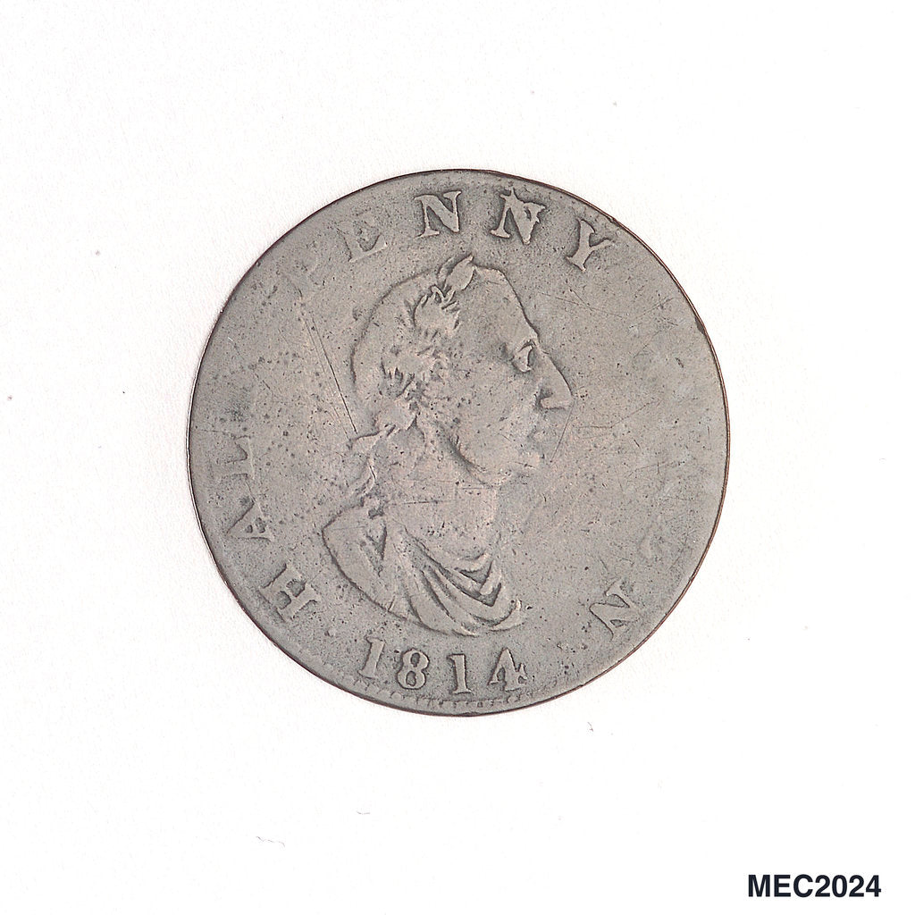 Detail of Nova Scotia halfpenny token by unknown