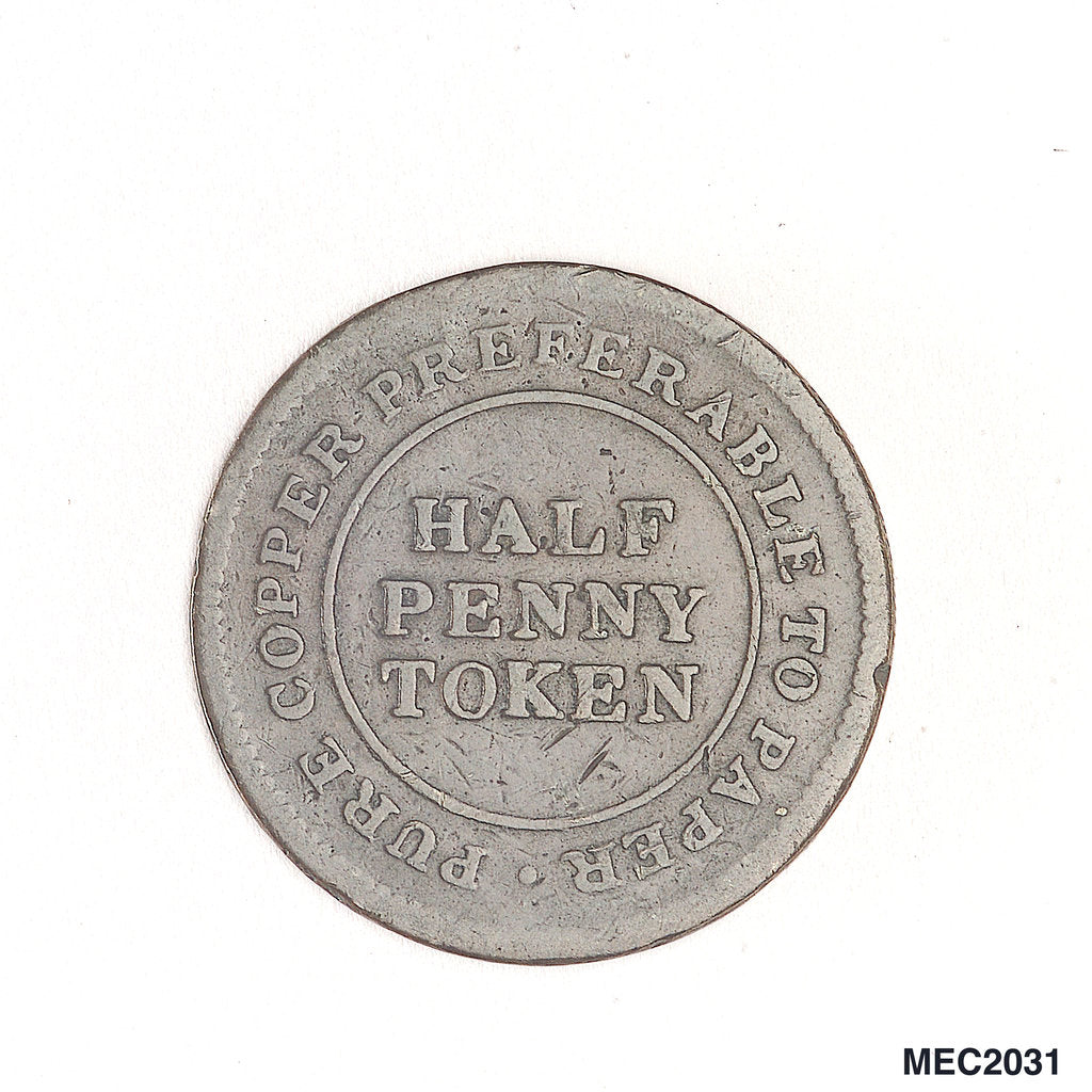 Detail of Halfpenny token by unknown