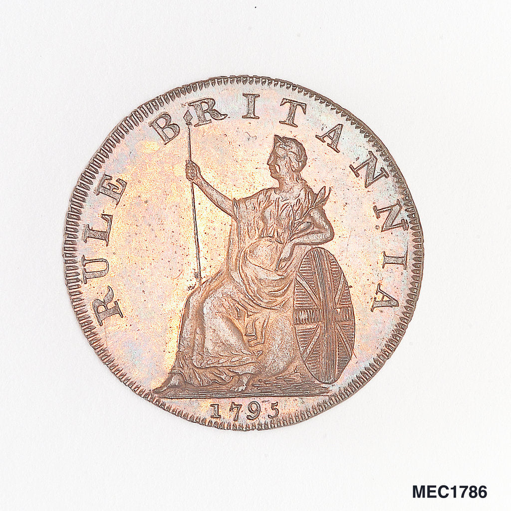 Detail of Emsworth halfpenny token commemorating Admiral of the Fleet Richard Howe (1726-1799) and the Glorious First of June, 1794 by unknown