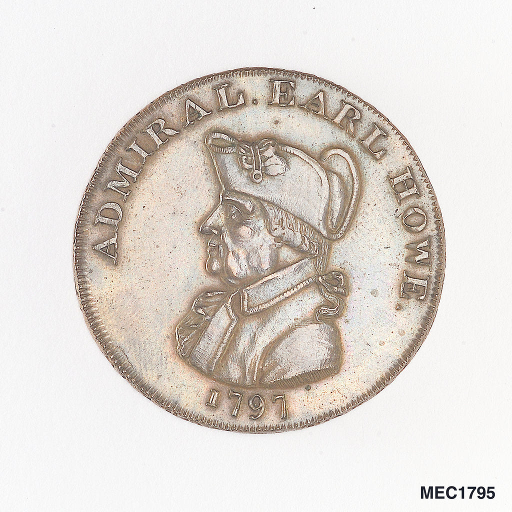 Detail of Buxton token commemorating Admiral of the Fleet Richard Howe (1726-1799) by unknown