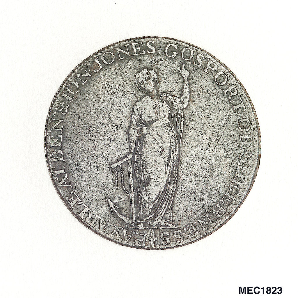 Detail of Gosport halfpenny token by J. Pitt