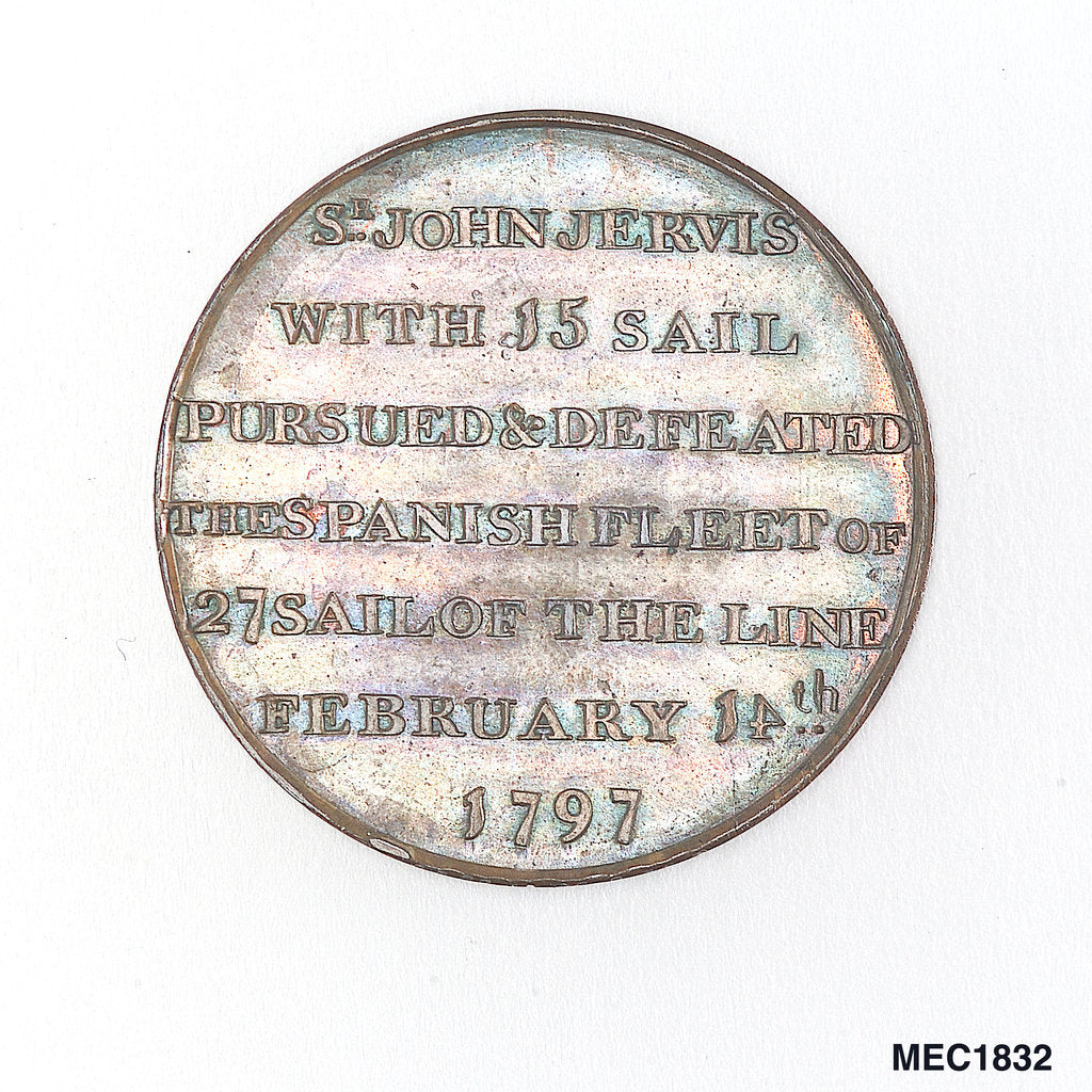 Detail of Portsmouth halfpenny token commemorating John Jervis, Earl St Vincent (1735-1823) and the battle of Cape St Vincent, 1797 by T. Wyon