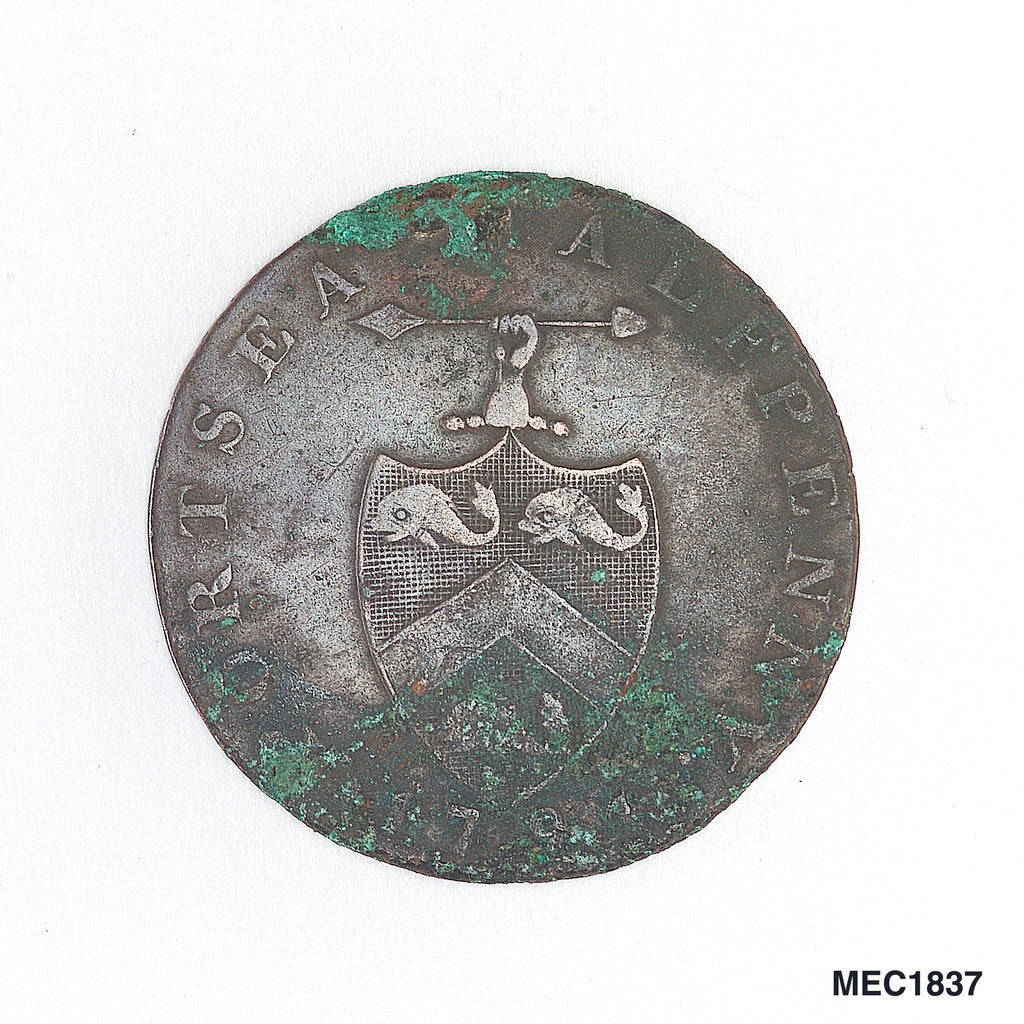 Detail of Portsea halfpenny token by unknown
