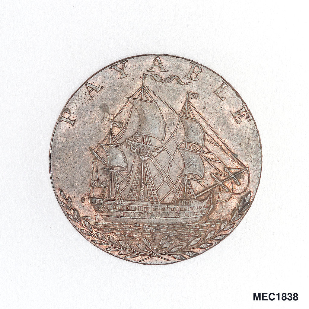 Detail of Portsea halfpenny token by T. Wyon