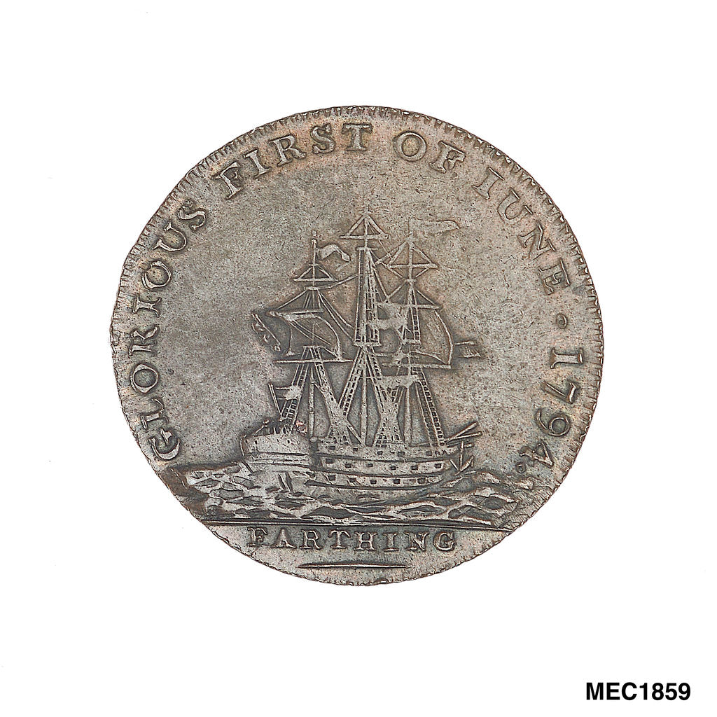 Detail of Farthing token commemorating Admiral of the Fleet Richard Howe (1726-1799) and the Glorious First of June, 1794 by T. Wyon