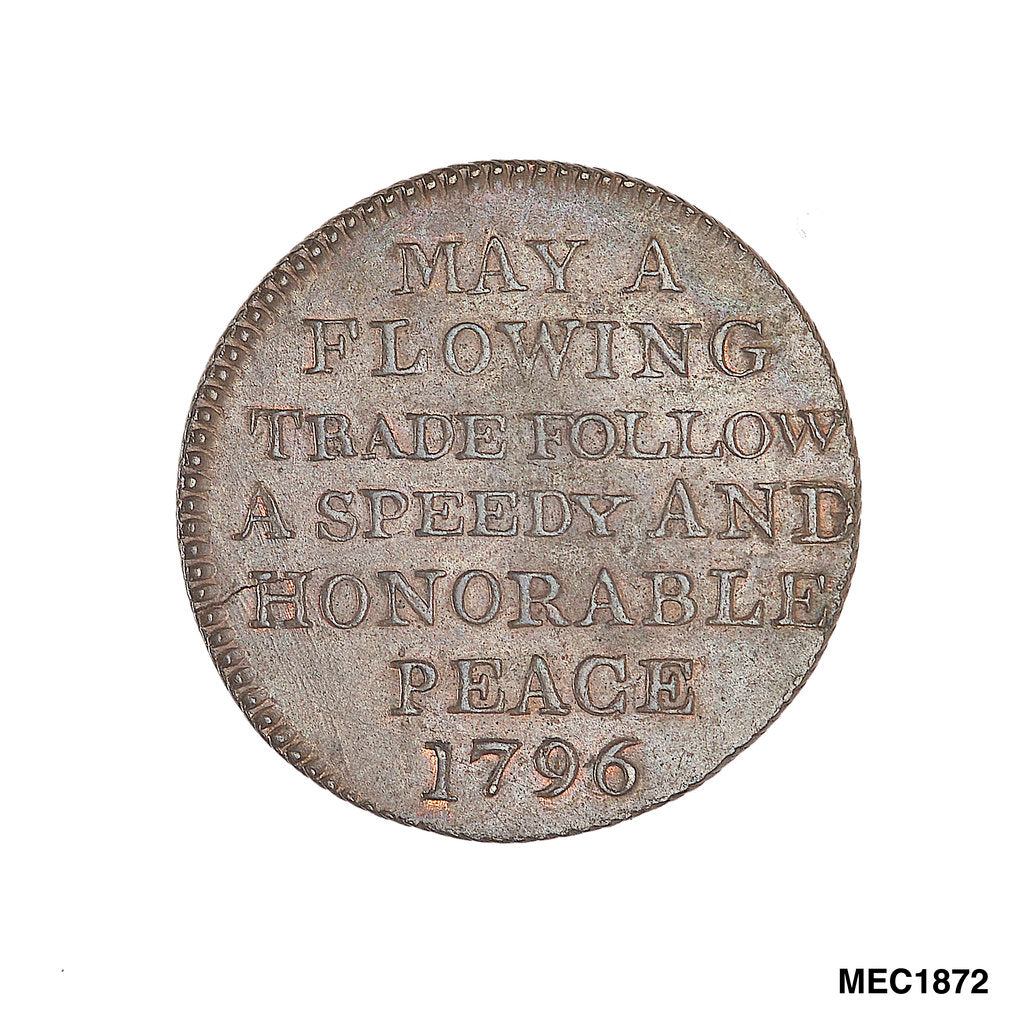 Detail of Promissory naval farthing token commemorating John Jervis, Earl St Vincent (1735-1823) by T. Wyon