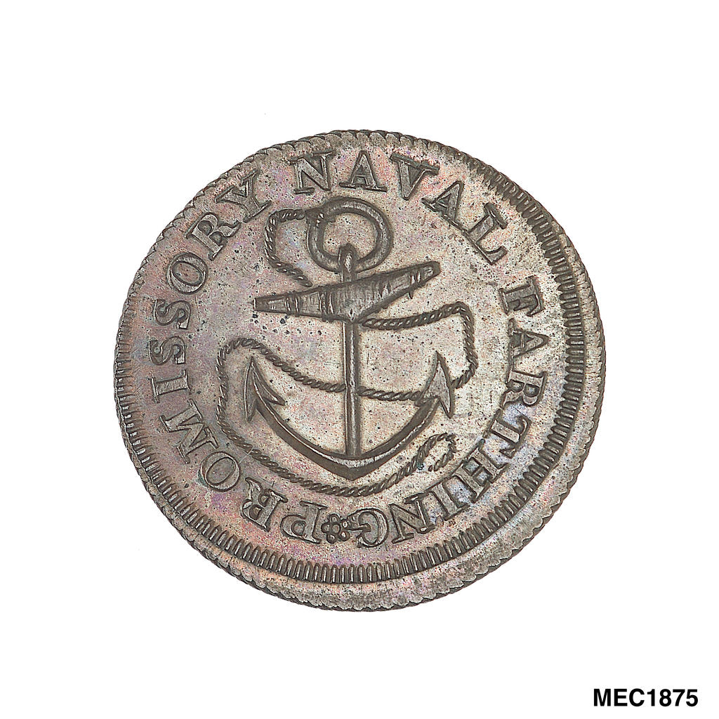 Detail of Promissory naval farthing token commemorating Admiral John MacBride by T. Wyon