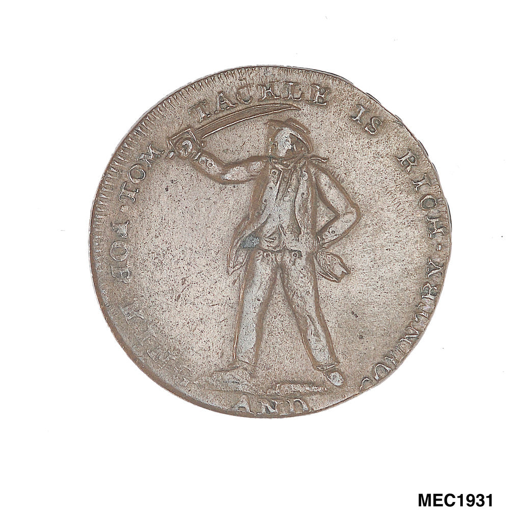 Detail of Halfpenny token commemorating Tom Tackle by unknown