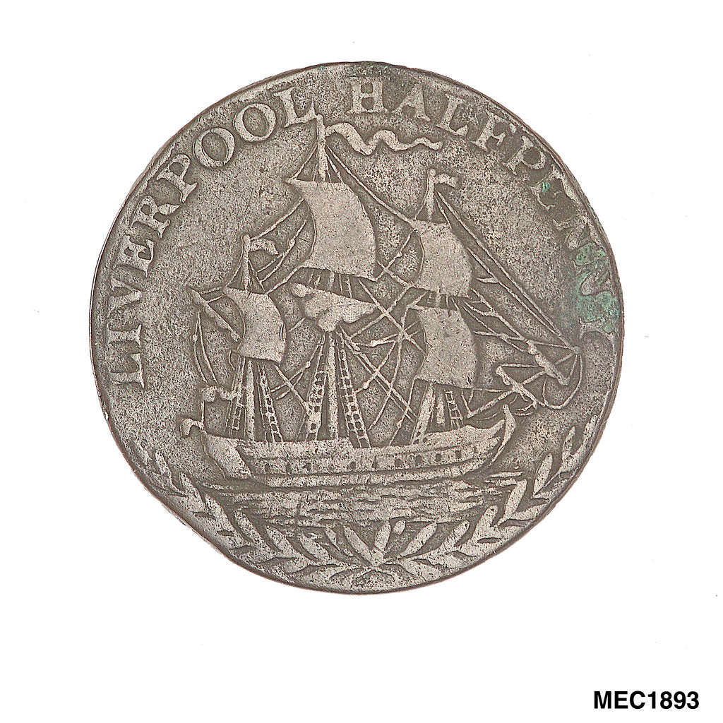 Detail of Liverpool halfpenny token by unknown