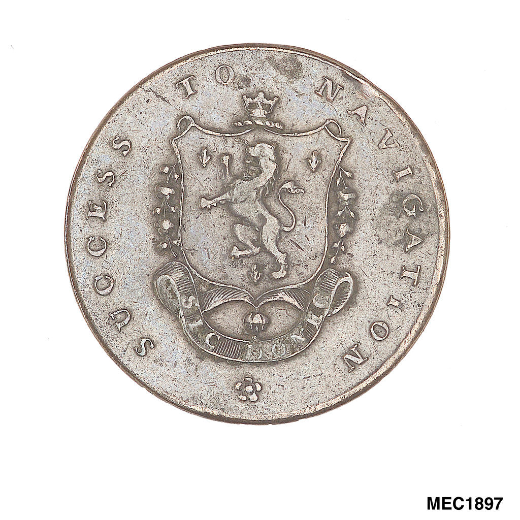 Detail of Manchester halfpenny token by unknown