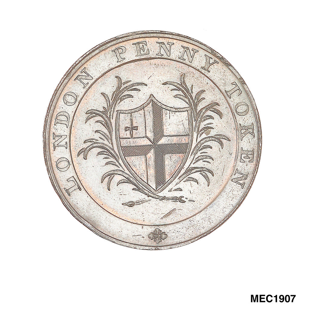 Detail of Penny token commemorating Greenwich Hospital by T. Wyon
