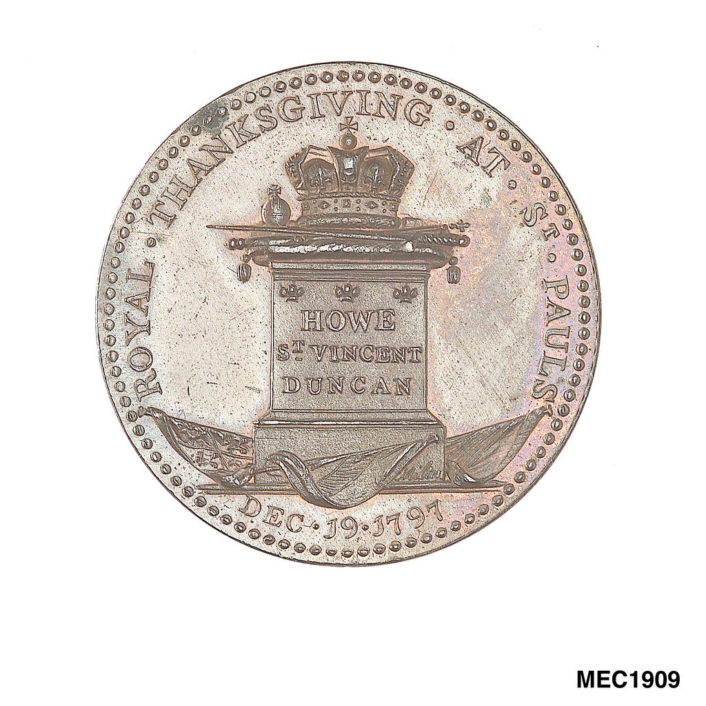 Detail of Penny token commemorating naval victories and the Royal Thanksgiving at St Pauls, 1797 by J. Milton
