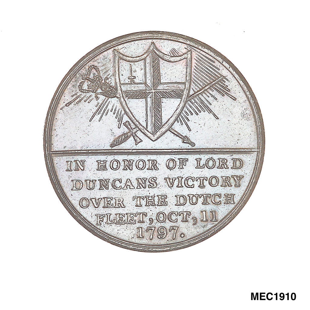 Detail of Penny token commemorating the Battle of Camperdown and the Royal Thanksgiving at St Pauls, 1797 by unknown