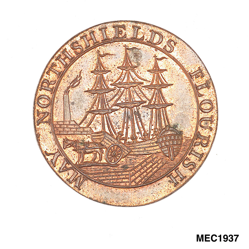 Detail of North Shields halfpenny token by unknown