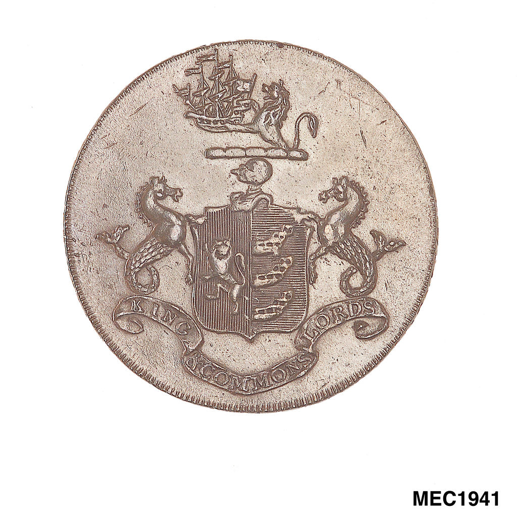 Detail of Ipswich halfpenny token by P. Kempson