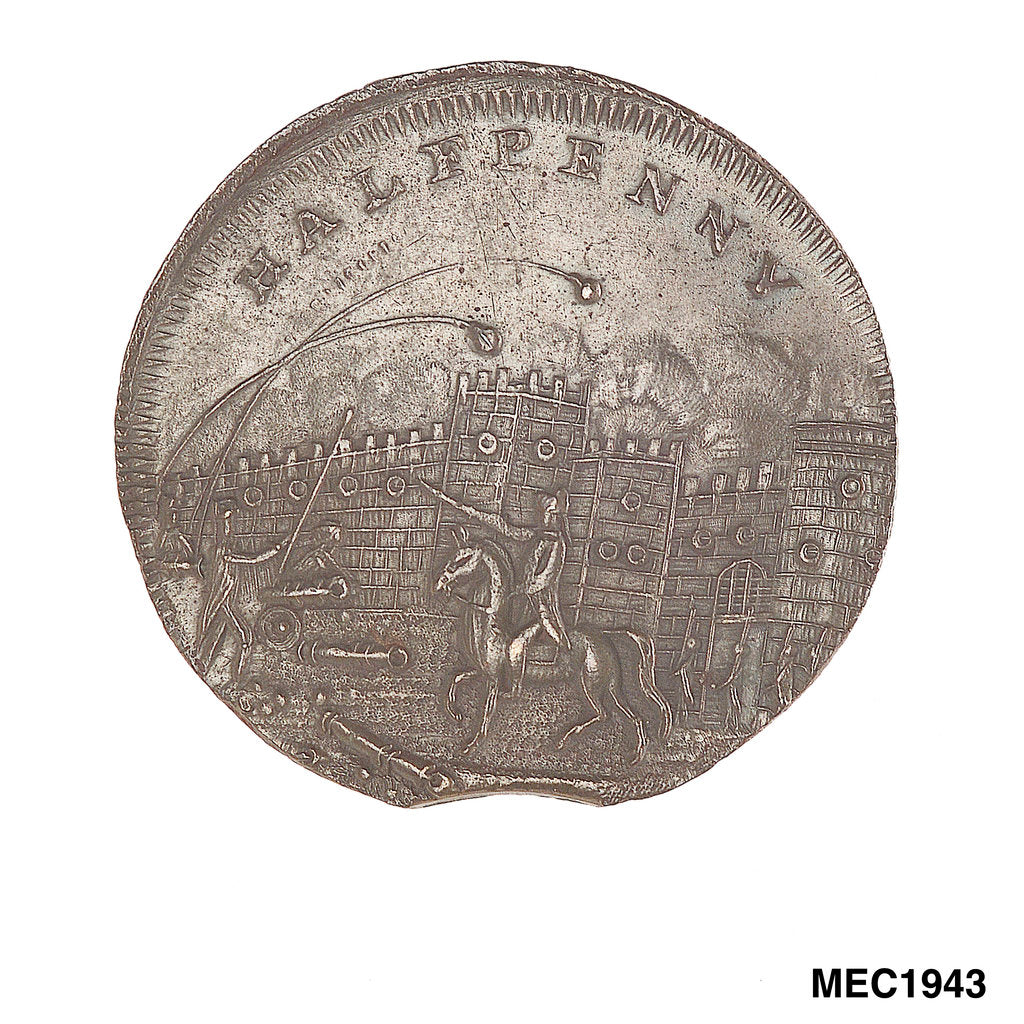 Detail of Brighton halfpenny token by unknown