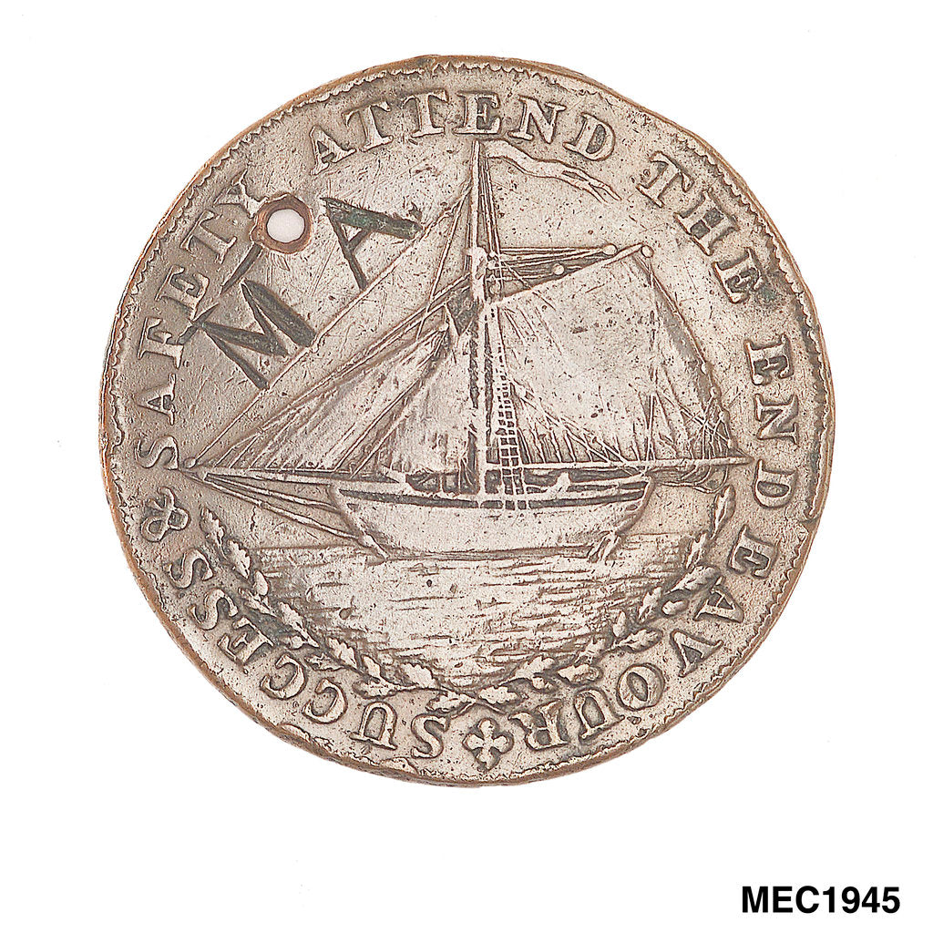 Detail of Hastings halfpenny token by T. Wyon