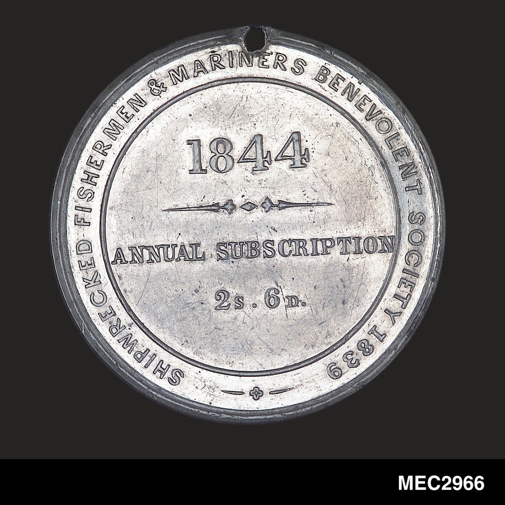 Detail of Membership token of The Shipwrecked Fishermen and Mariners Royal Benevolent Society by J. Davis